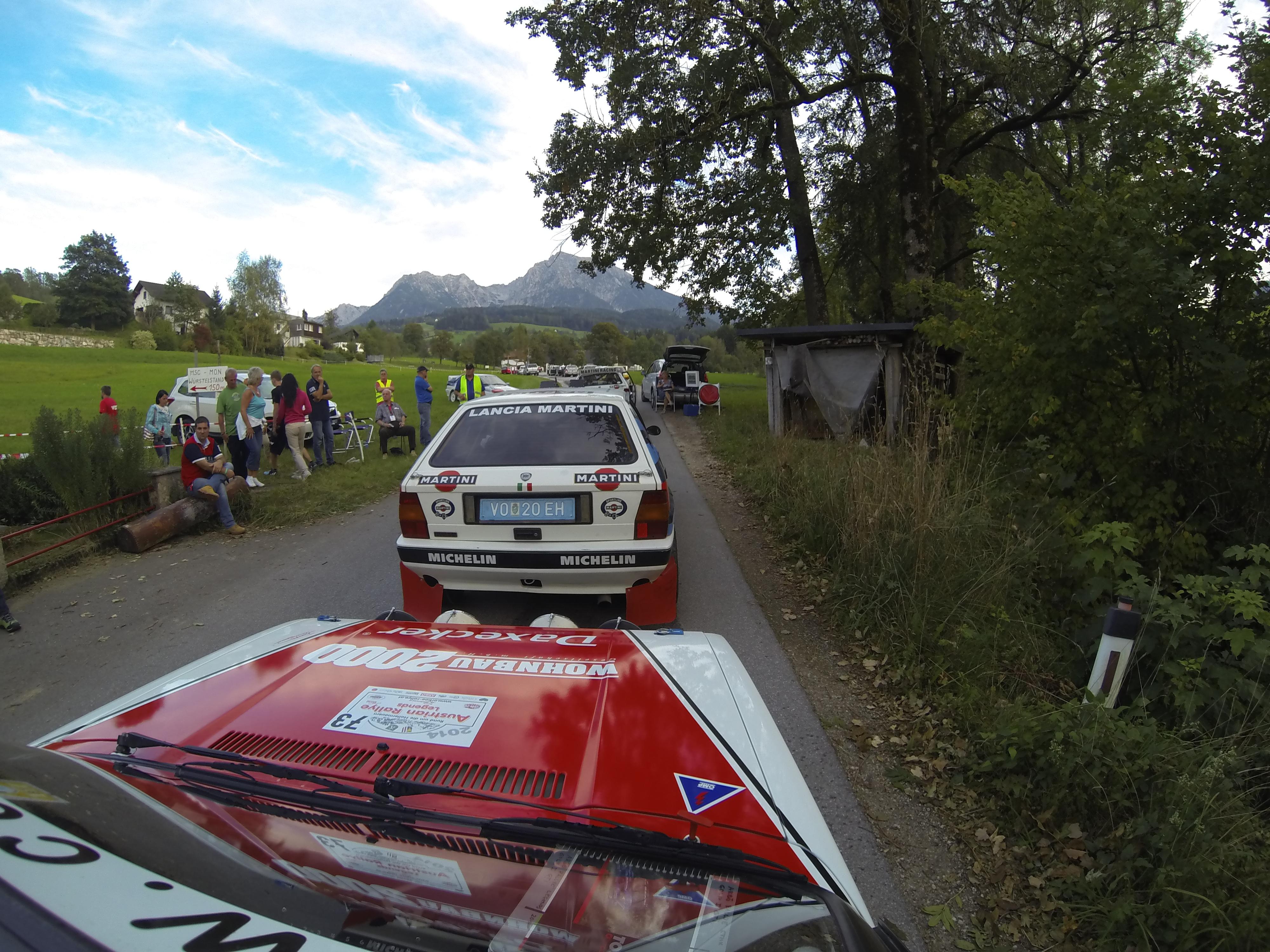 Start zur SP3 mit Lancia Delta Integrale vor uns